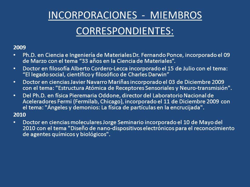 INCORPORACIONES - MIEMBROS CORRESPONDIENTES: