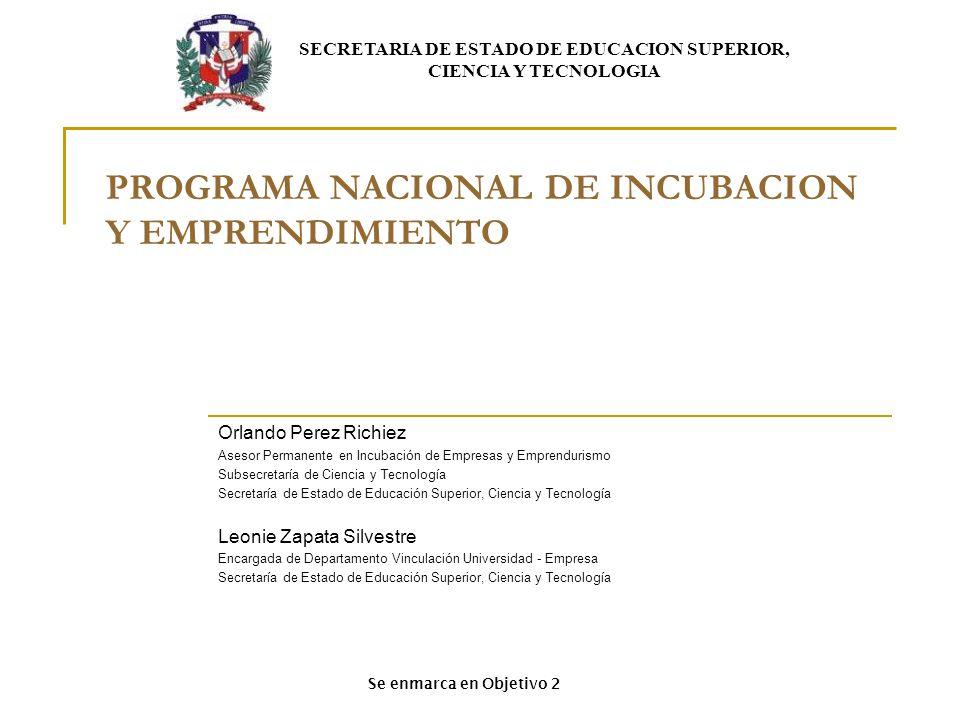 PROGRAMA NACIONAL DE INCUBACION Y EMPRENDIMIENTO