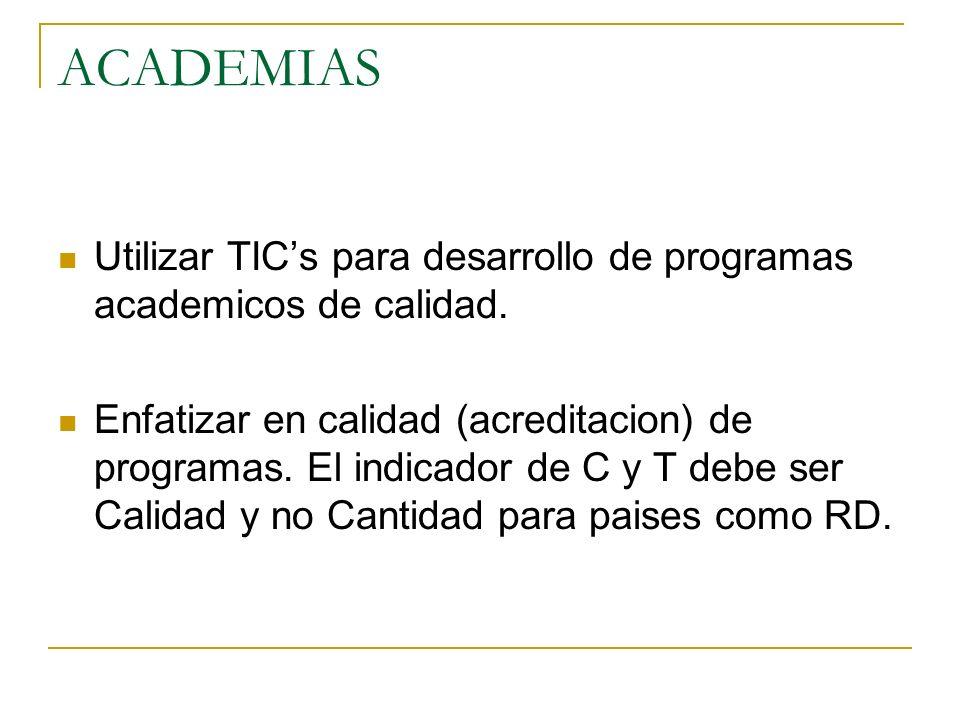ACADEMIAS Utilizar TIC's para desarrollo de programas academicos de calidad.