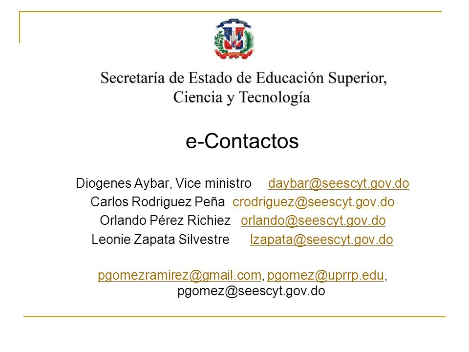 e-Contactos www.seescyt.gov.do