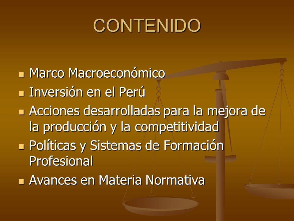 CONTENIDO Marco Macroeconómico Inversión en el Perú