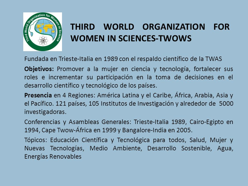 THIRD WORLD ORGANIZATION FOR WOMEN IN SCIENCES-TWOWS