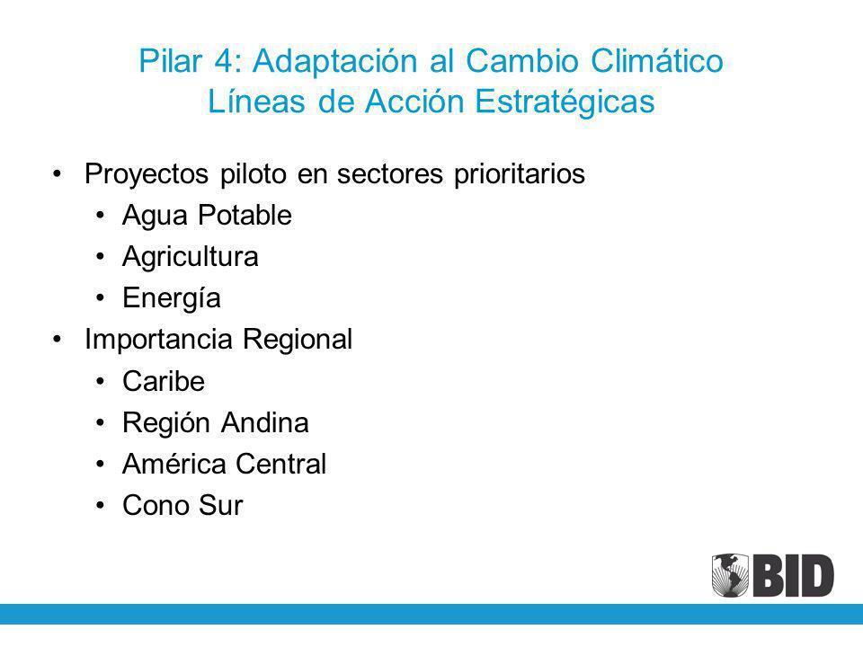 Pilar 4: Adaptación al Cambio Climático Líneas de Acción Estratégicas