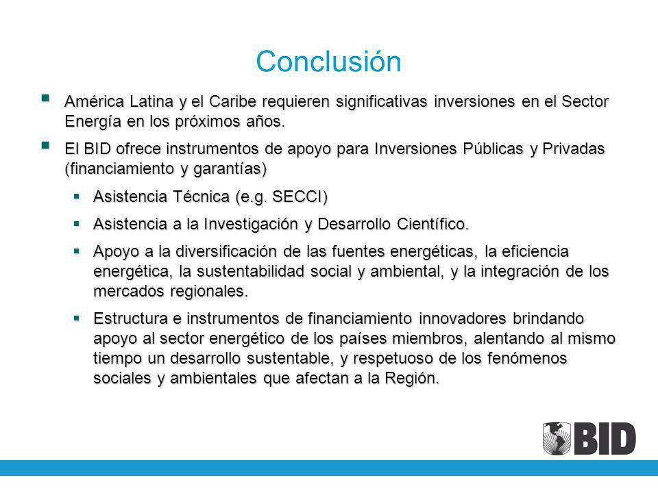 Conclusión América Latina y el Caribe requieren significativas inversiones en el Sector Energía en los próximos años.