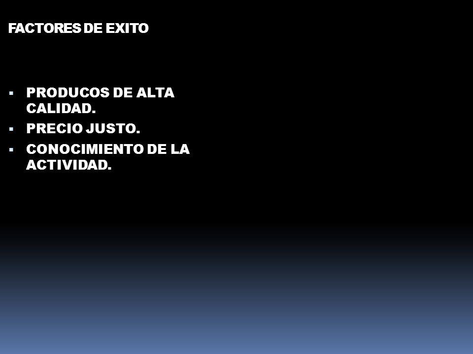 FACTORES DE EXITO PRODUCOS DE ALTA CALIDAD. PRECIO JUSTO. CONOCIMIENTO DE LA ACTIVIDAD.