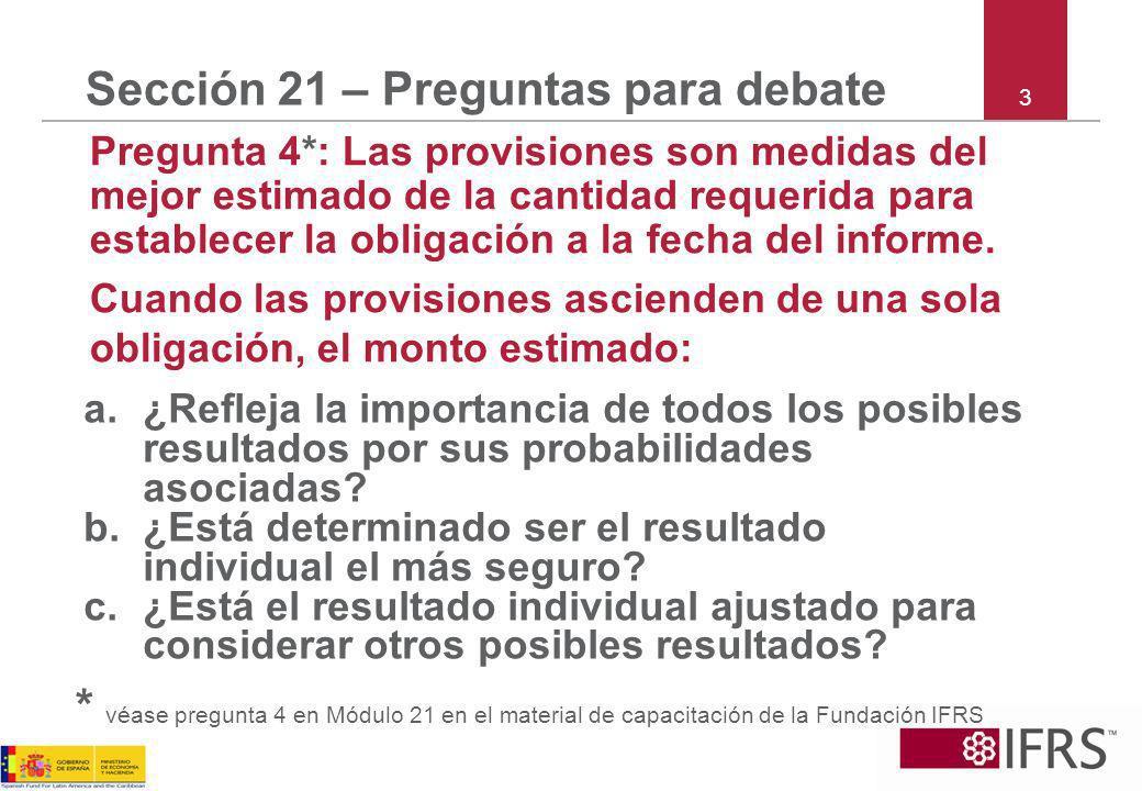 Sección 21 – Preguntas para debate