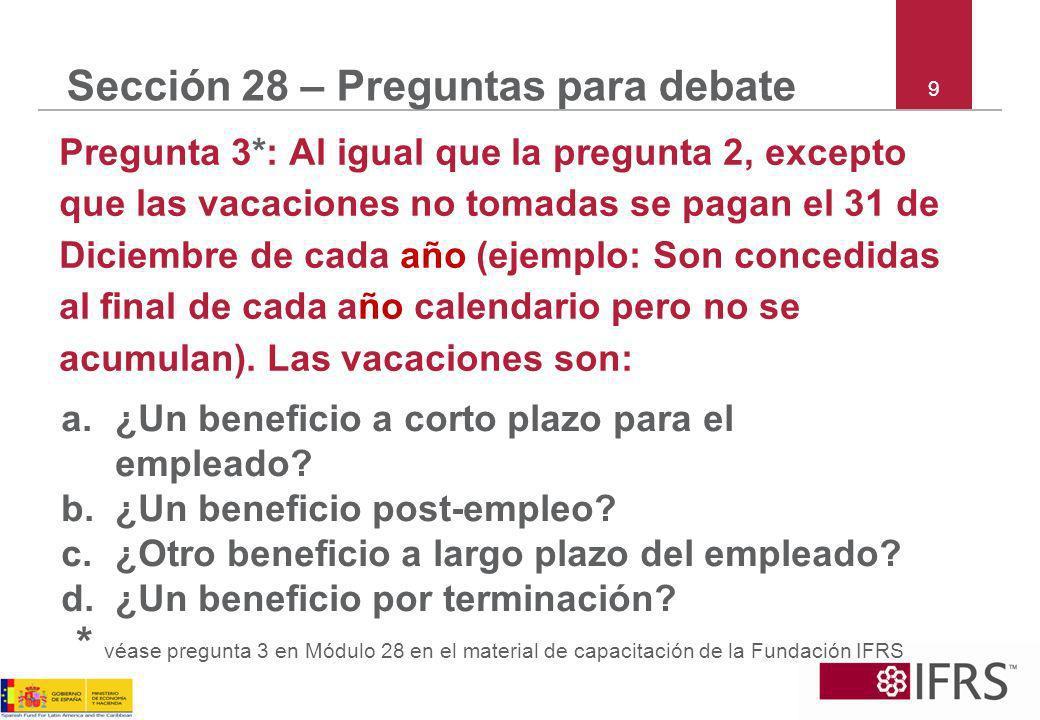 Sección 28 – Preguntas para debate