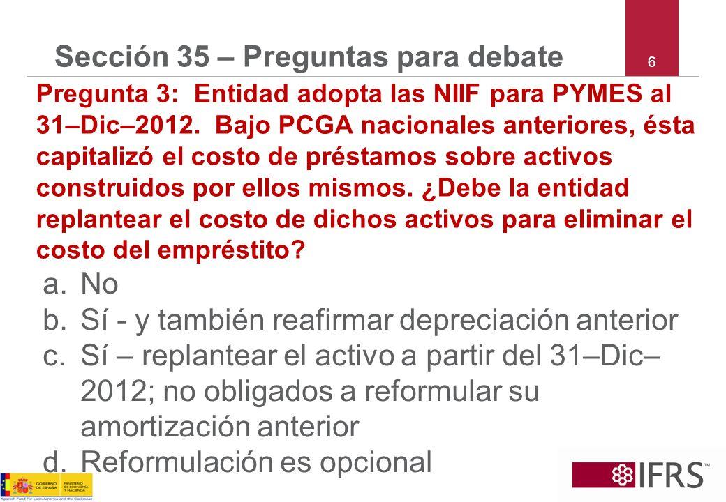 Sección 35 – Preguntas para debate