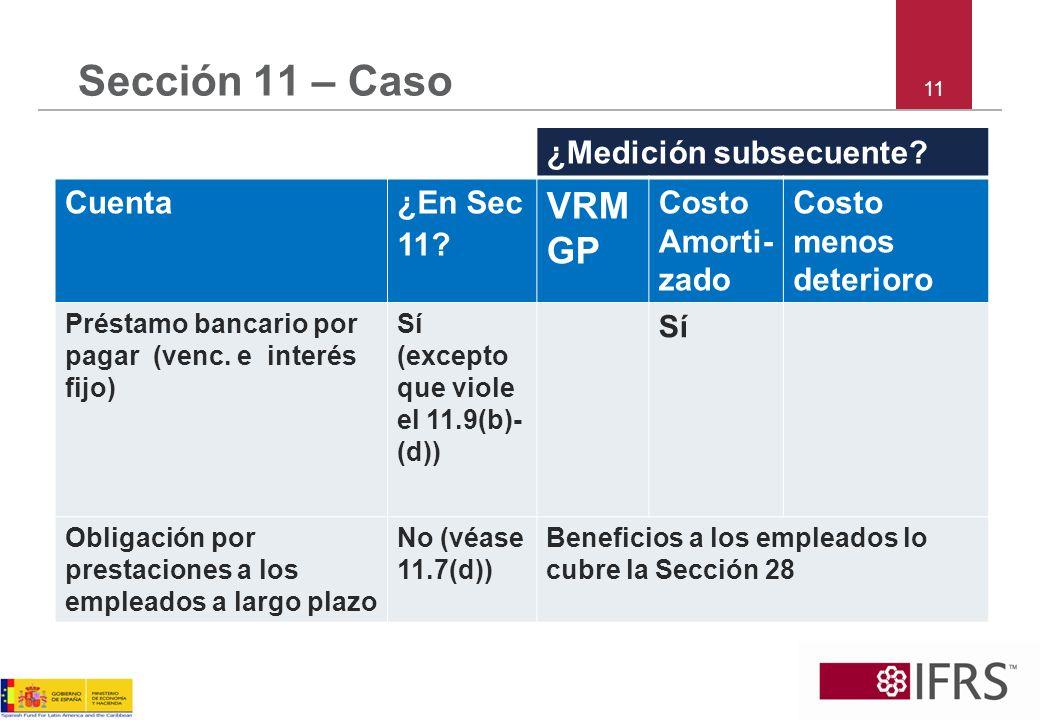 Sección 11 – Caso VRMGP ¿Medición subsecuente Cuenta ¿En Sec 11