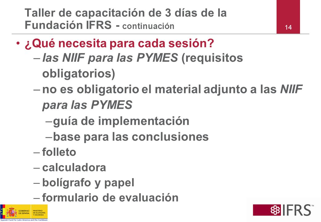 Taller de capacitación de 3 días de la Fundación IFRS - continuación
