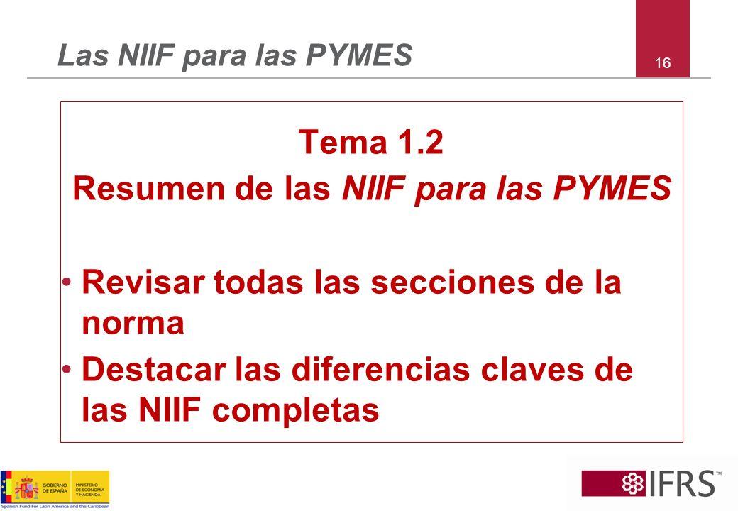 Resumen de las NIIF para las PYMES