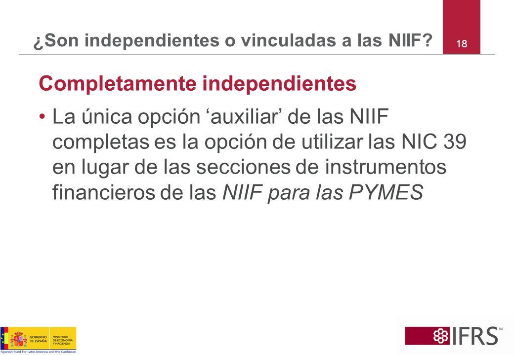 ¿Son independientes o vinculadas a las NIIF