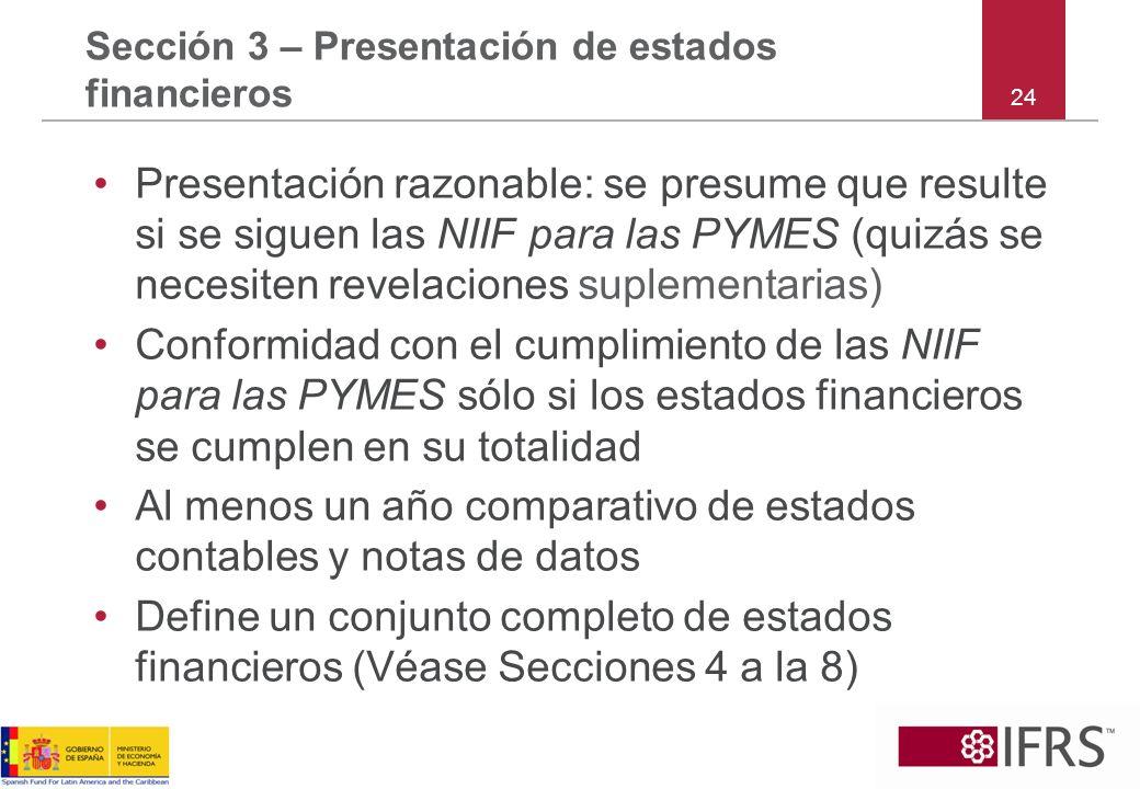 Sección 3 – Presentación de estados financieros