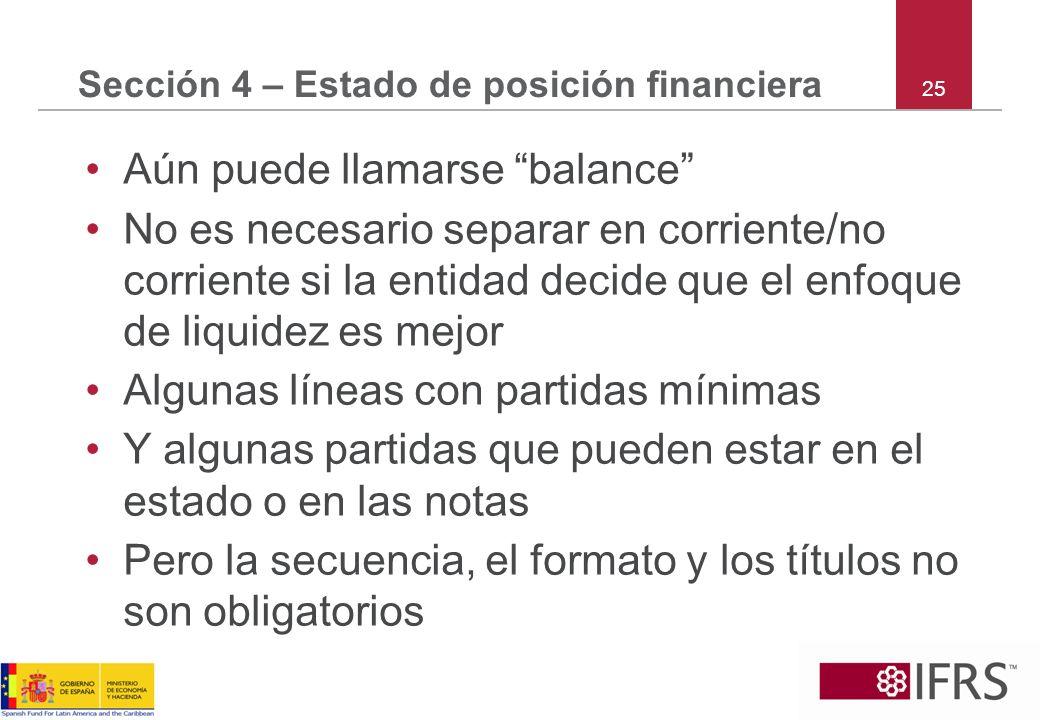 Sección 4 – Estado de posición financiera