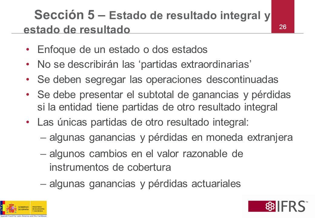 Sección 5 – Estado de resultado integral y estado de resultado