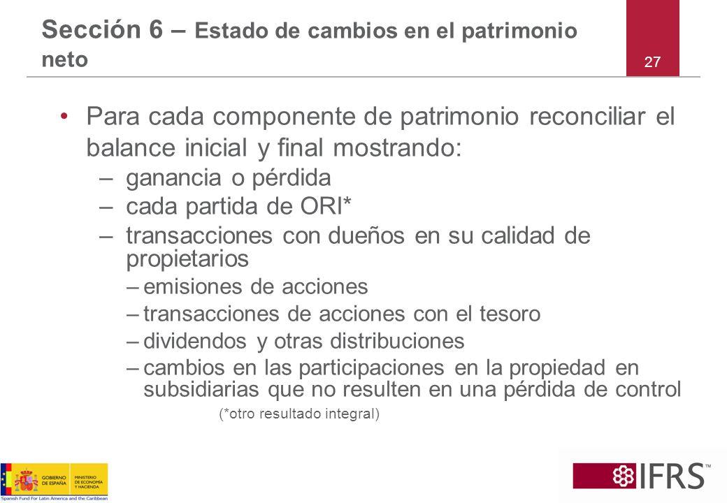 Sección 6 – Estado de cambios en el patrimonio neto