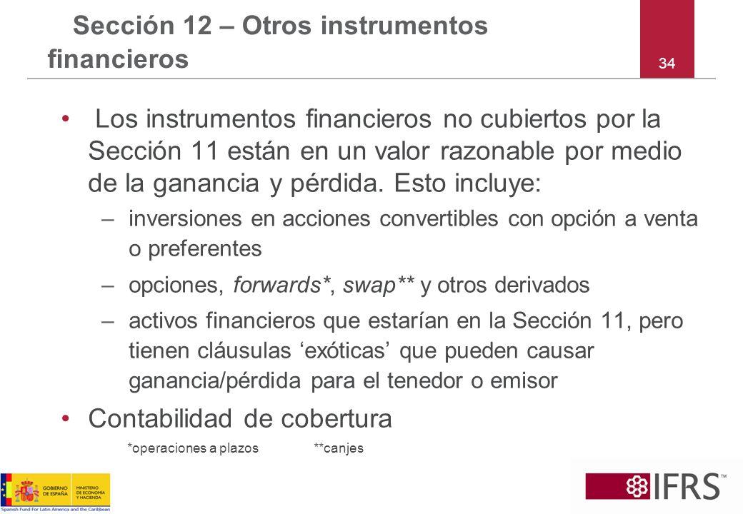 Sección 12 – Otros instrumentos financieros