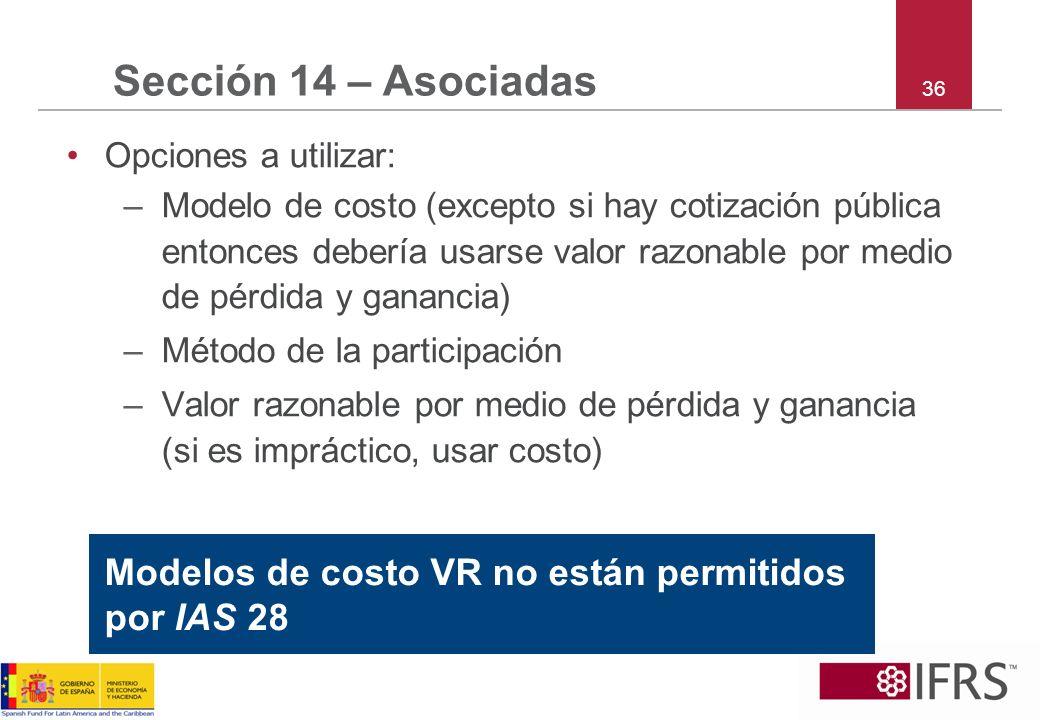 Sección 14 – Asociadas Opciones a utilizar: