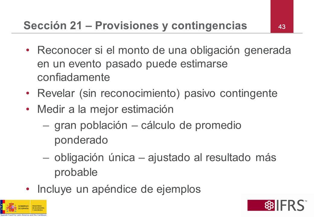 Sección 21 – Provisiones y contingencias