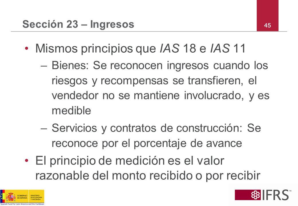 Mismos principios que IAS 18 e IAS 11
