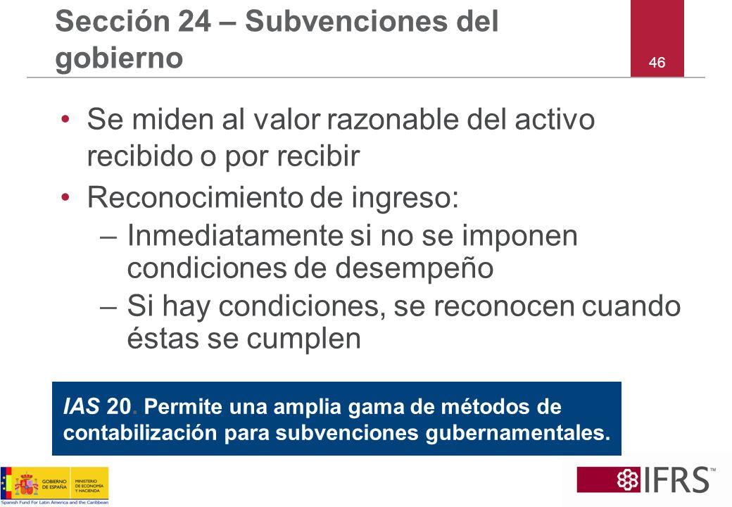 Sección 24 – Subvenciones del gobierno