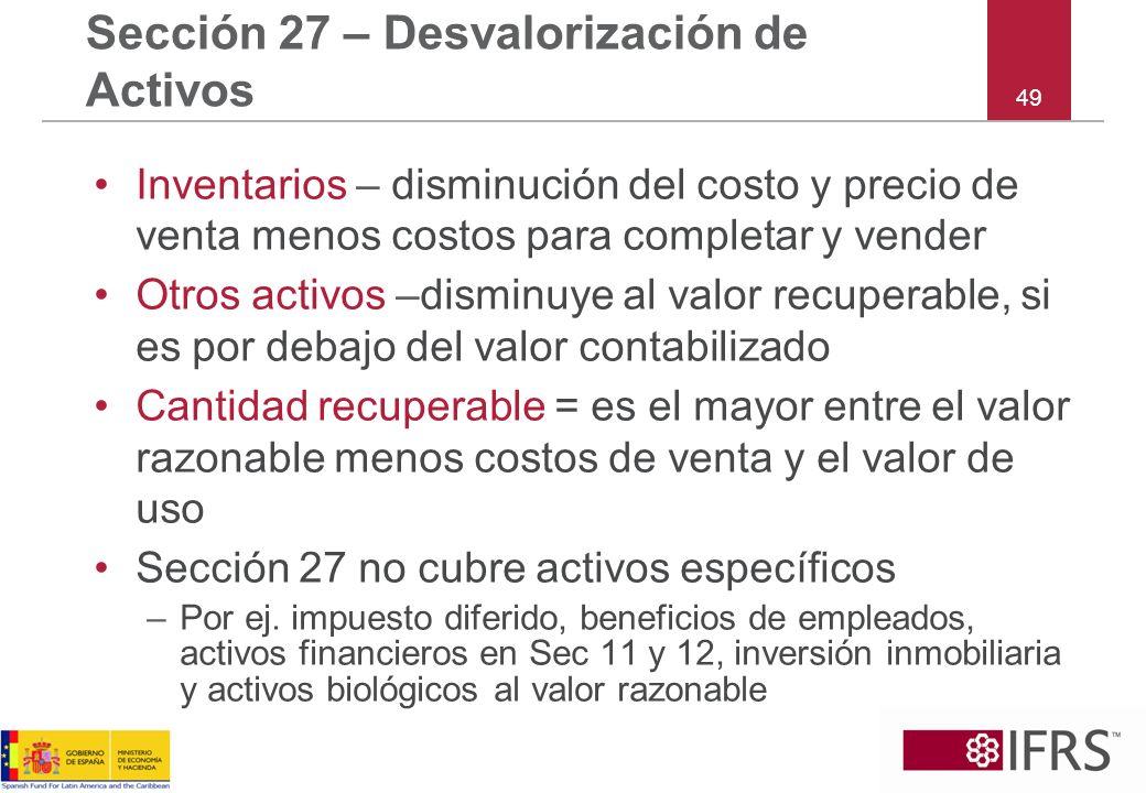 Sección 27 – Desvalorización de Activos