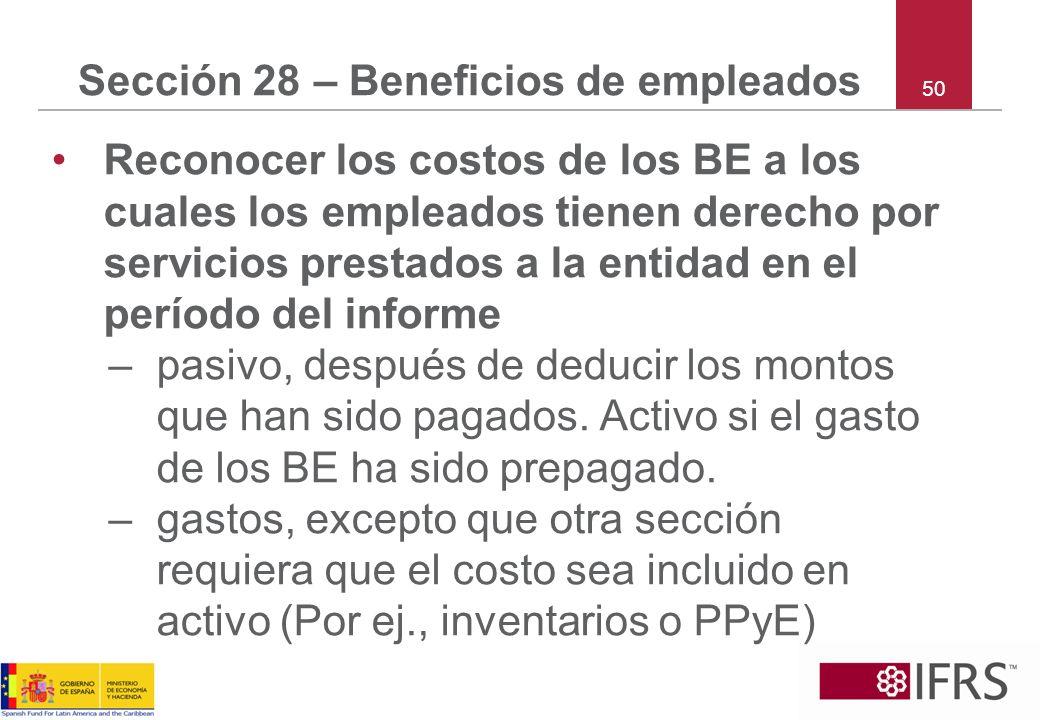 Sección 28 – Beneficios de empleados