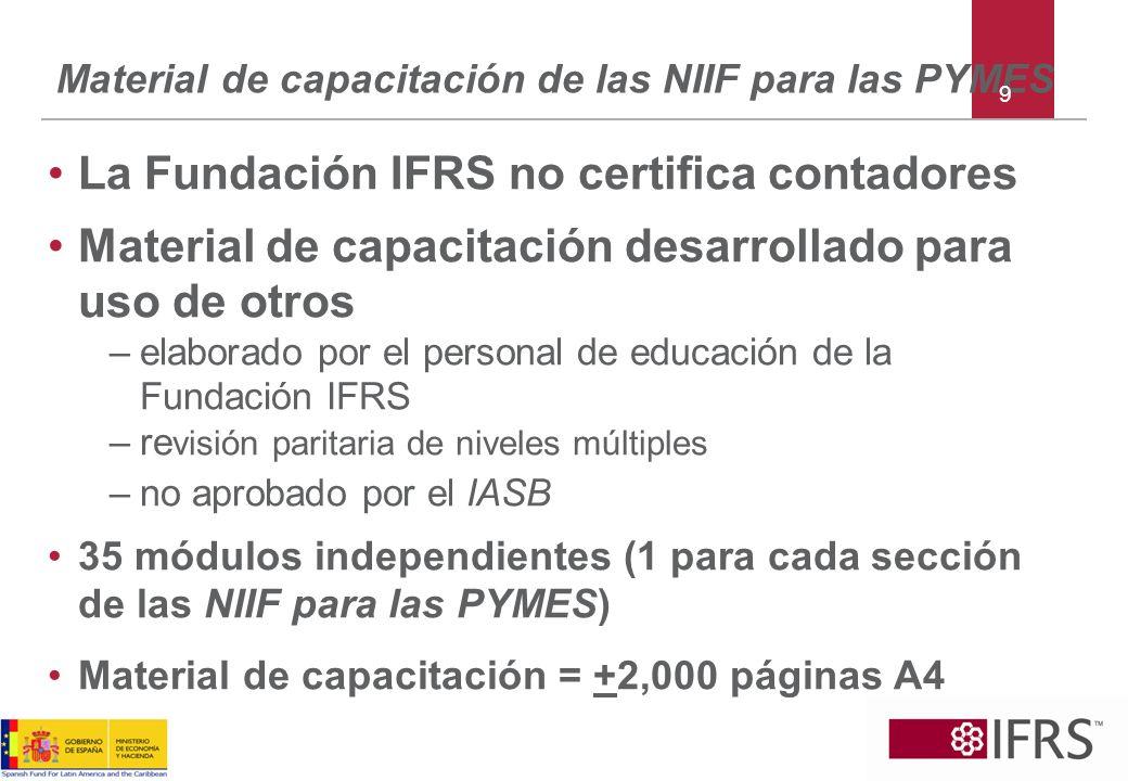 Material de capacitación de las NIIF para las PYMES