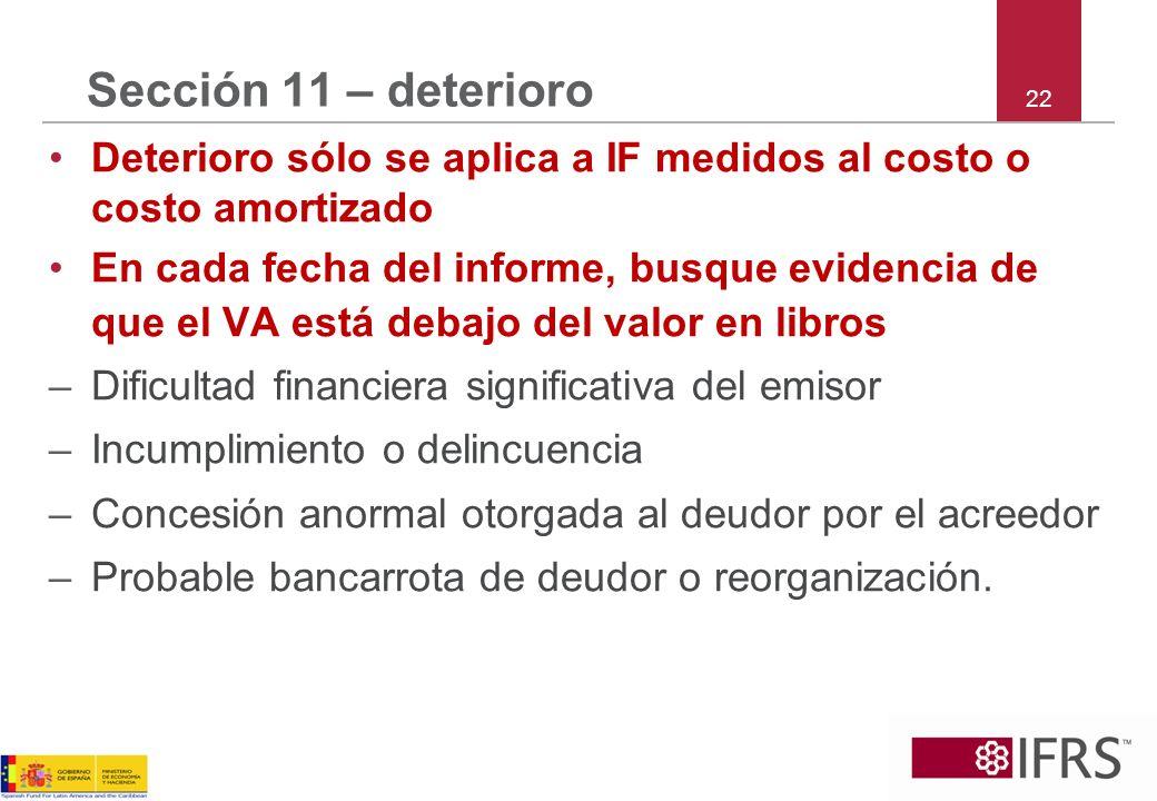 Sección 11 – deterioro22. Deterioro sólo se aplica a IF medidos al costo o costo amortizado.