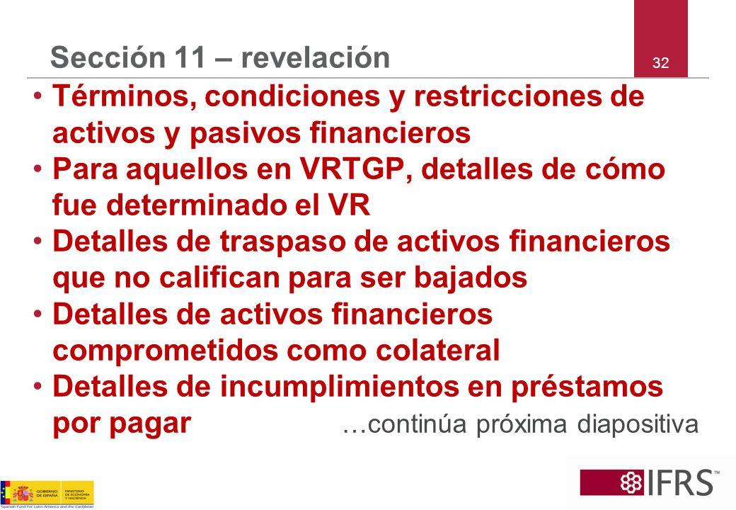 Términos, condiciones y restricciones de activos y pasivos financieros