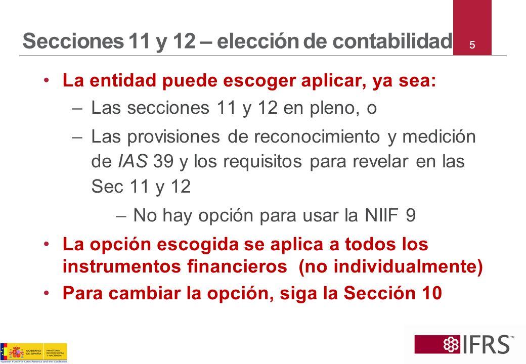 Secciones 11 y 12 – elección de contabilidad