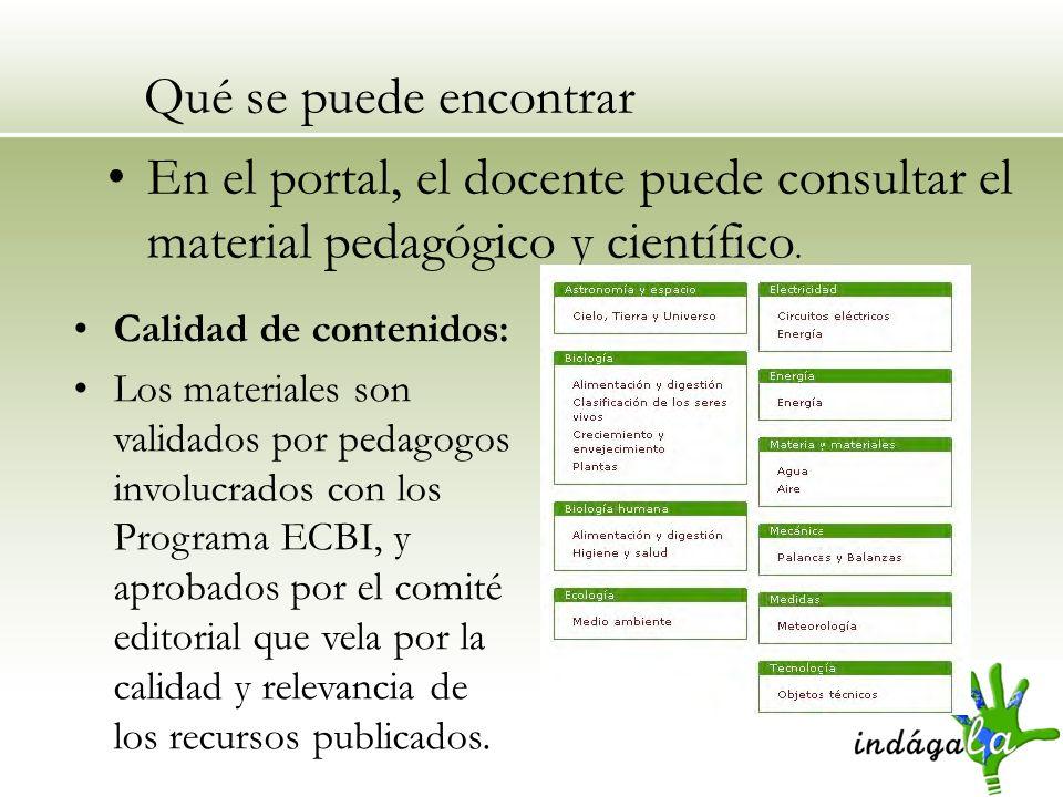 Qué se puede encontrar En el portal, el docente puede consultar el material pedagógico y científico.