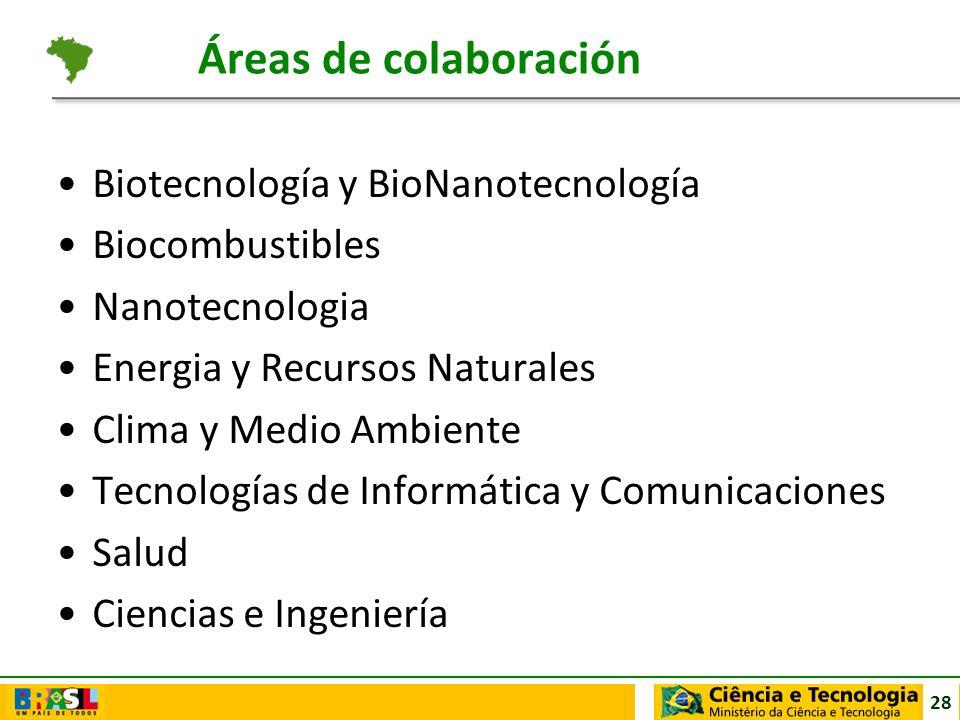 Áreas de colaboración Biotecnología y BioNanotecnología