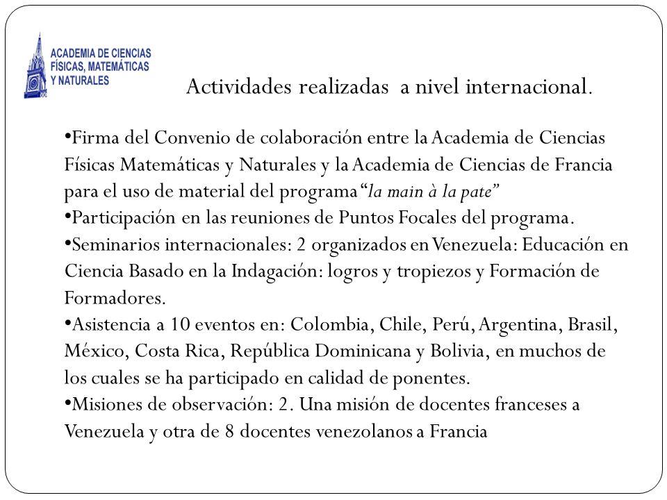 Acti Actividades realizadas a nivel internacional.