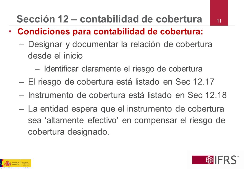 Sección 12 – contabilidad de cobertura