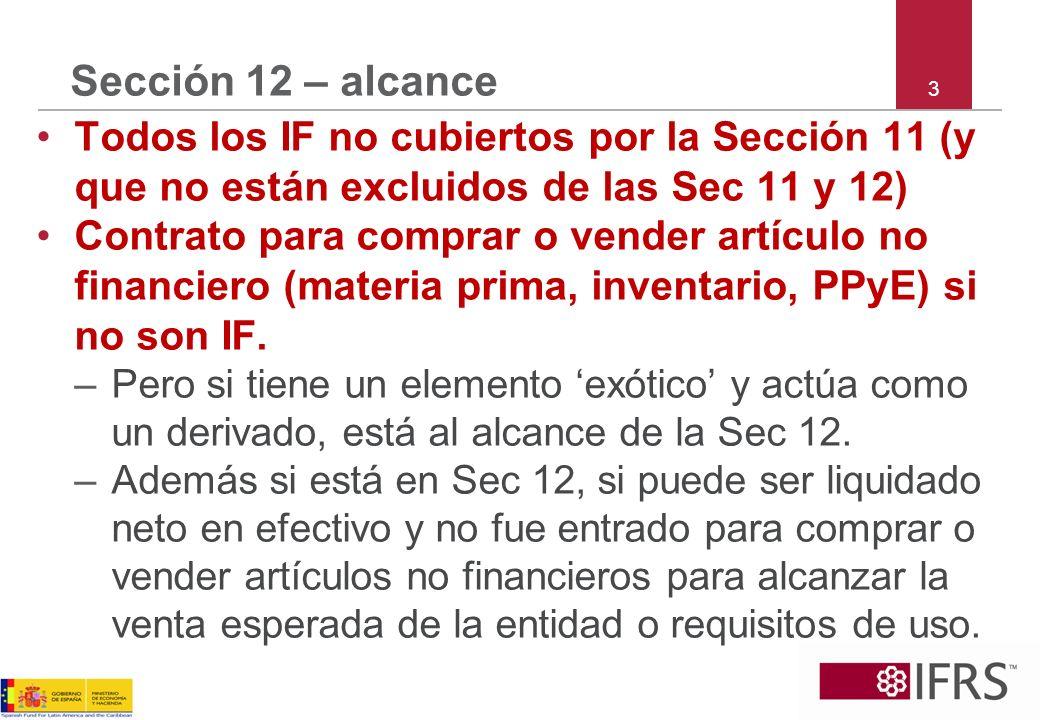 Sección 12 – alcance 3. Todos los IF no cubiertos por la Sección 11 (y que no están excluidos de las Sec 11 y 12)