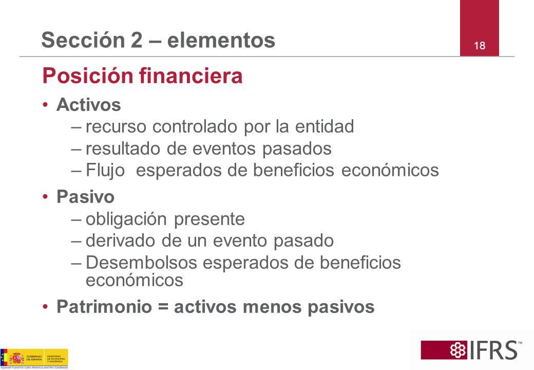 Sección 2 – elementos Posición financiera Activos