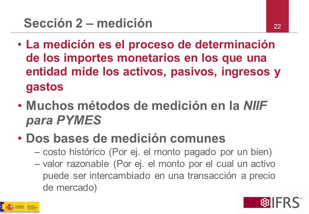 Muchos métodos de medición en la NIIF para PYMES