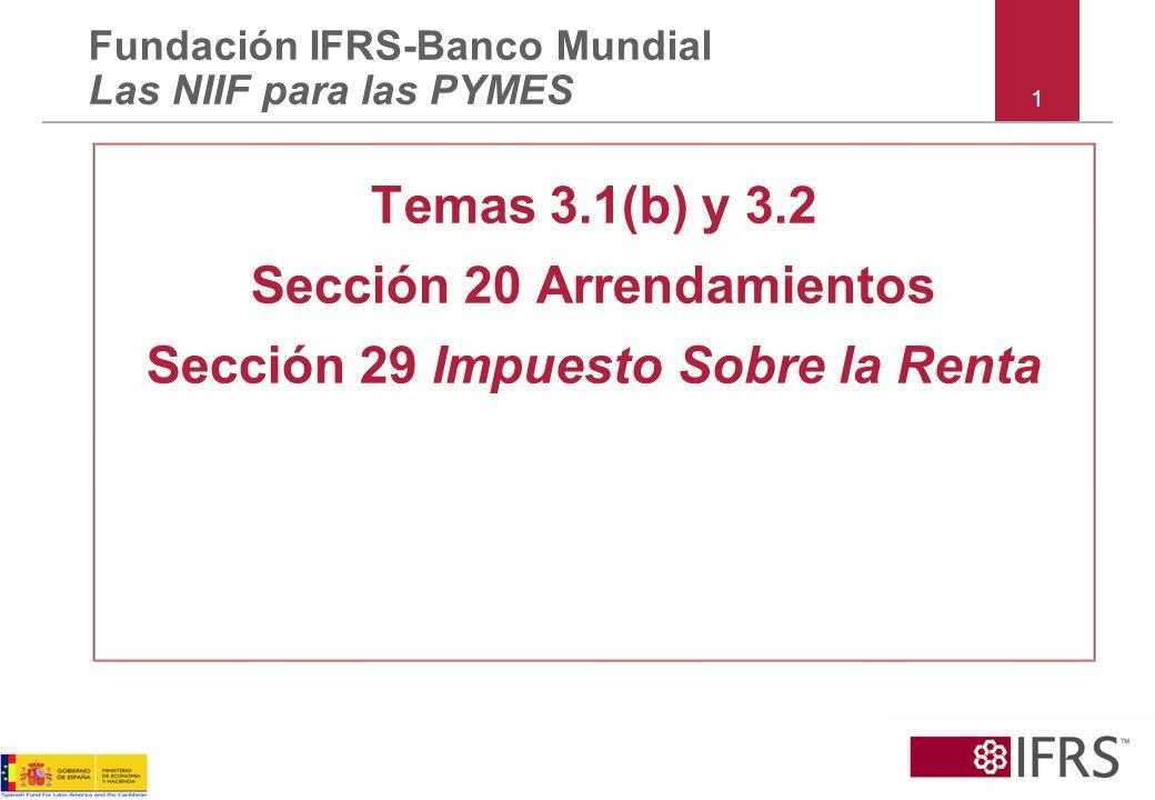 Sección 20 Arrendamientos Sección 29 Impuesto Sobre la Renta