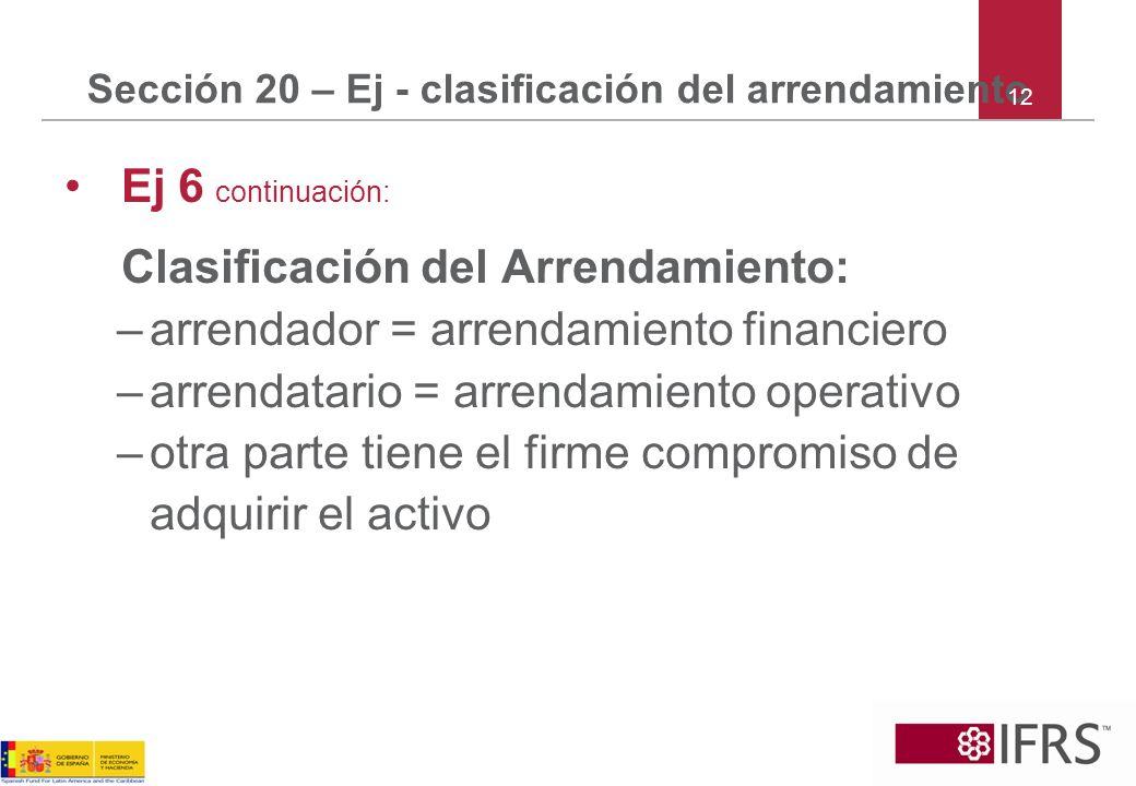 Sección 20 – Ej - clasificación del arrendamiento