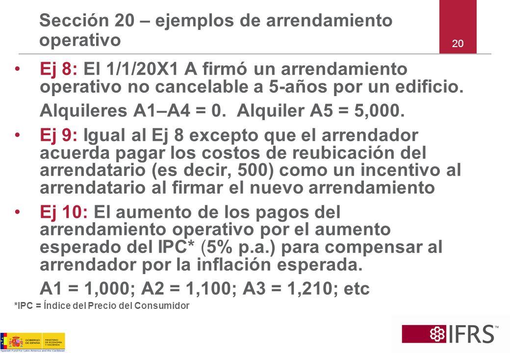 Sección 20 – ejemplos de arrendamiento operativo