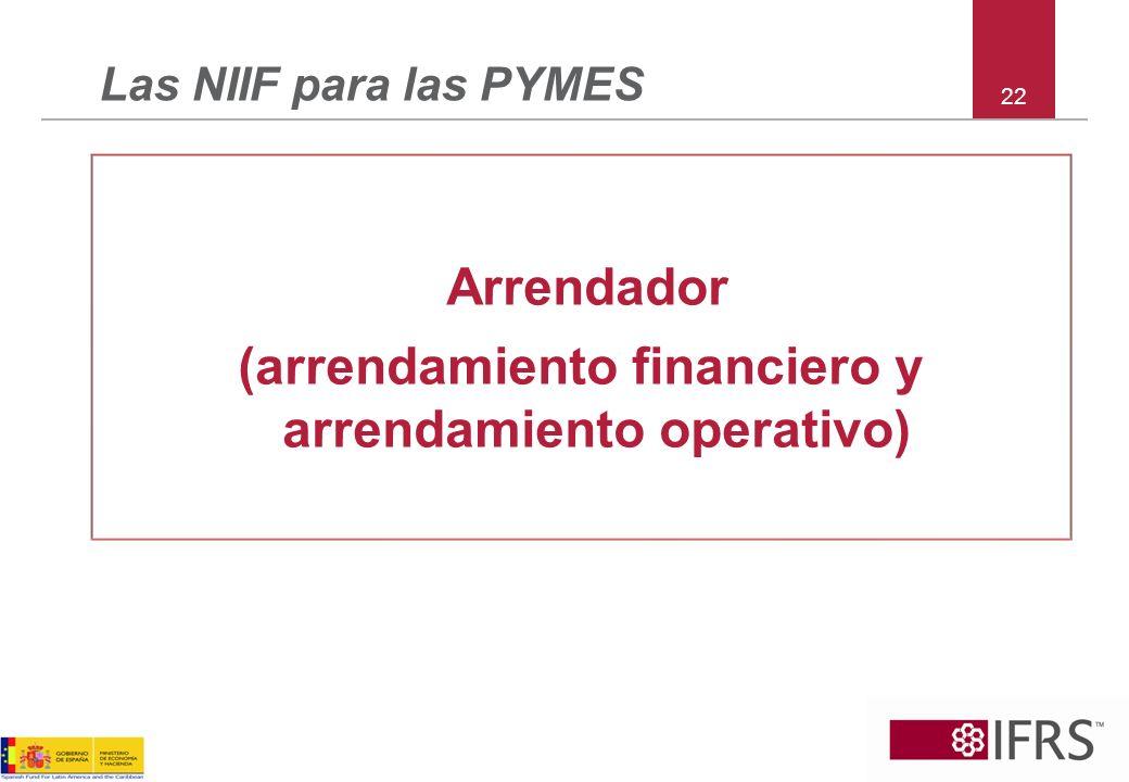 (arrendamiento financiero y arrendamiento operativo)