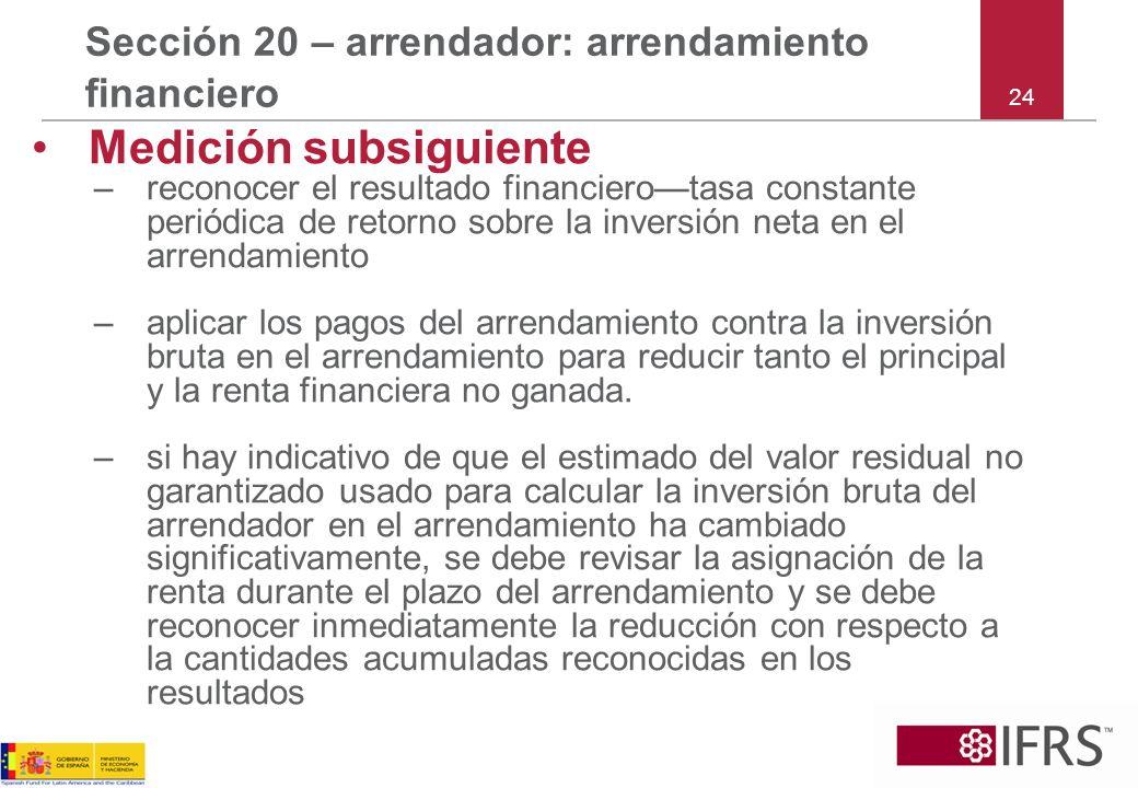 Sección 20 – arrendador: arrendamiento financiero