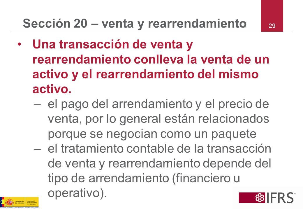 Sección 20 – venta y rearrendamiento