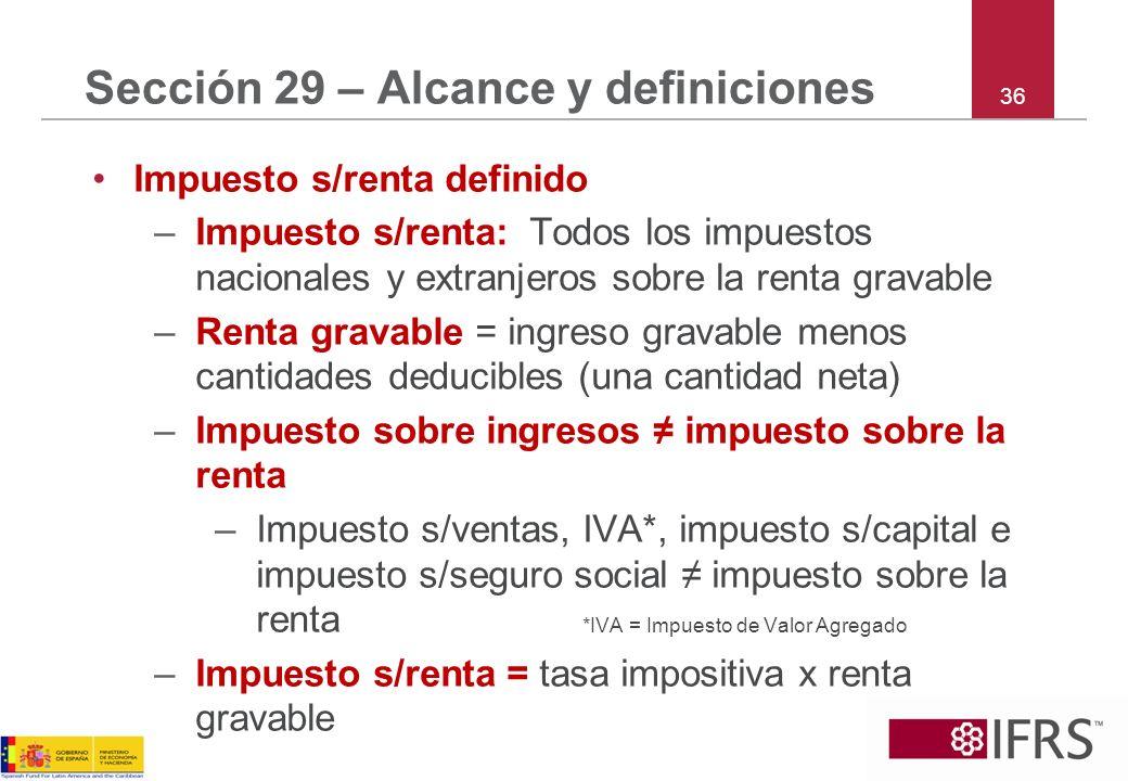 Sección 29 – Alcance y definiciones