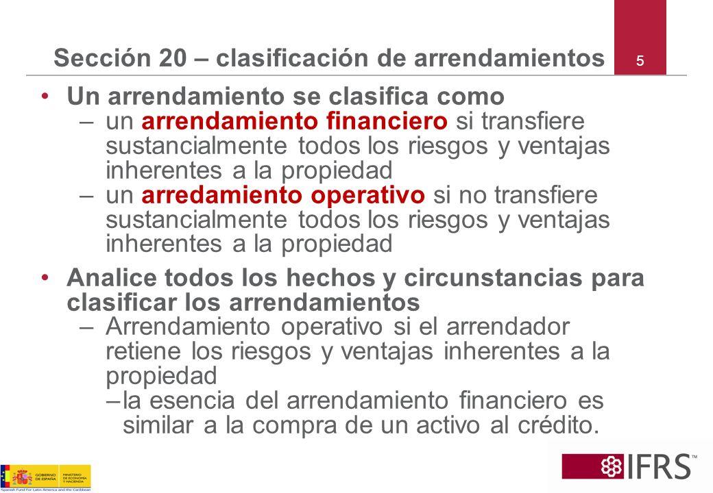 Sección 20 – clasificación de arrendamientos