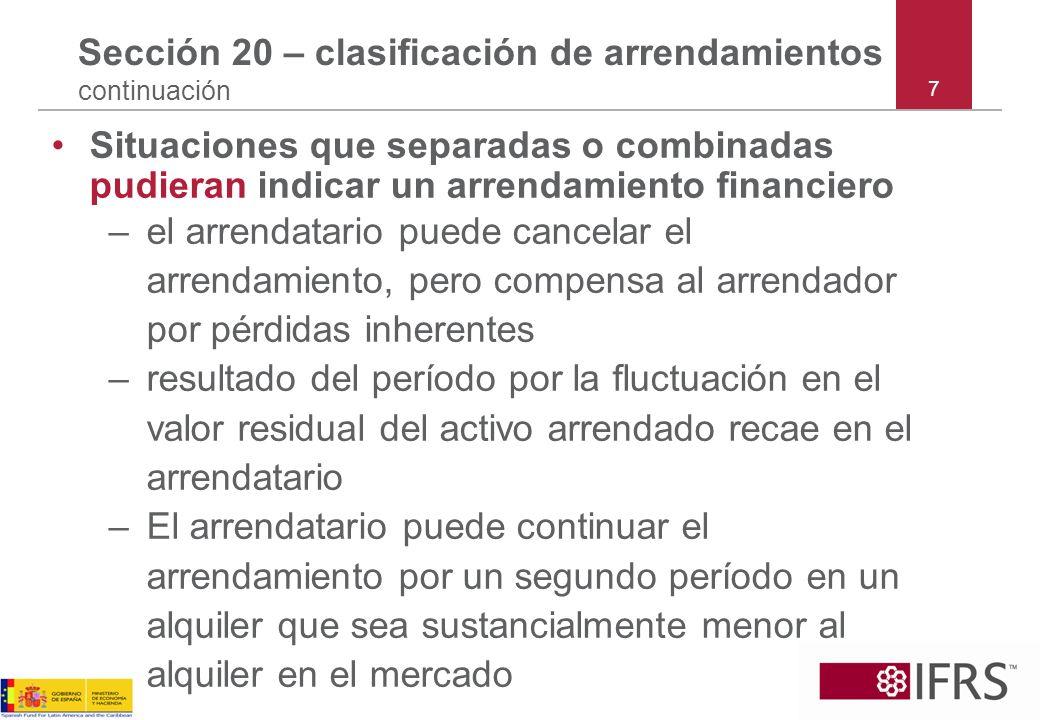 Sección 20 – clasificación de arrendamientos continuación