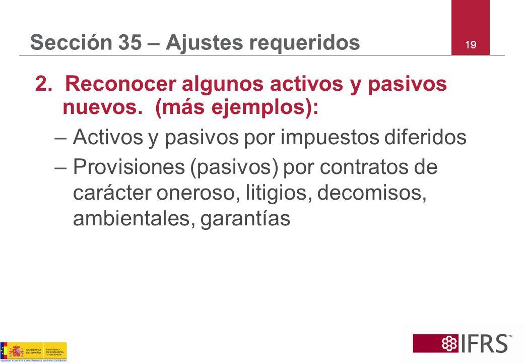 Sección 35 – Ajustes requeridos