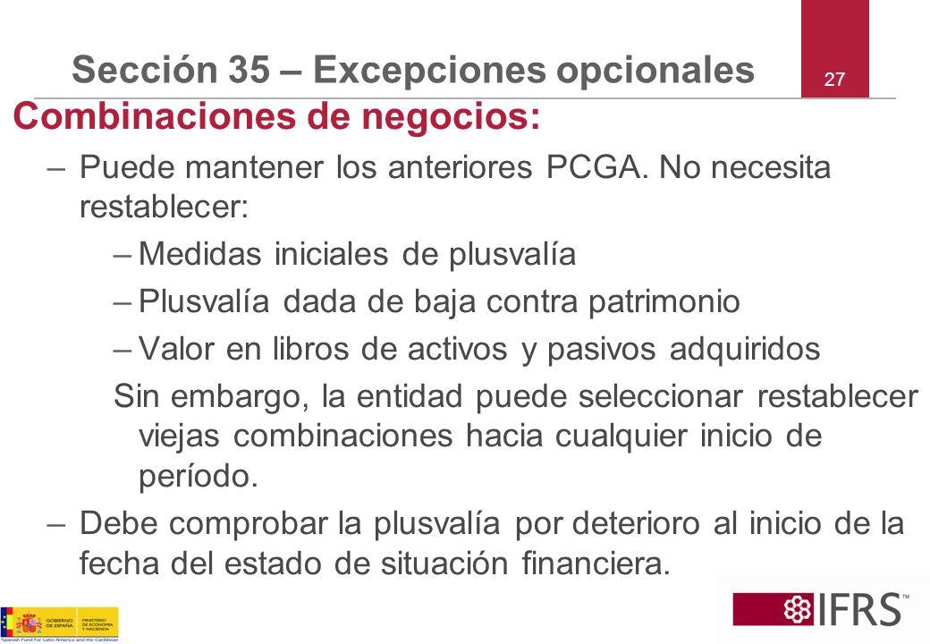 Sección 35 – Excepciones opcionales