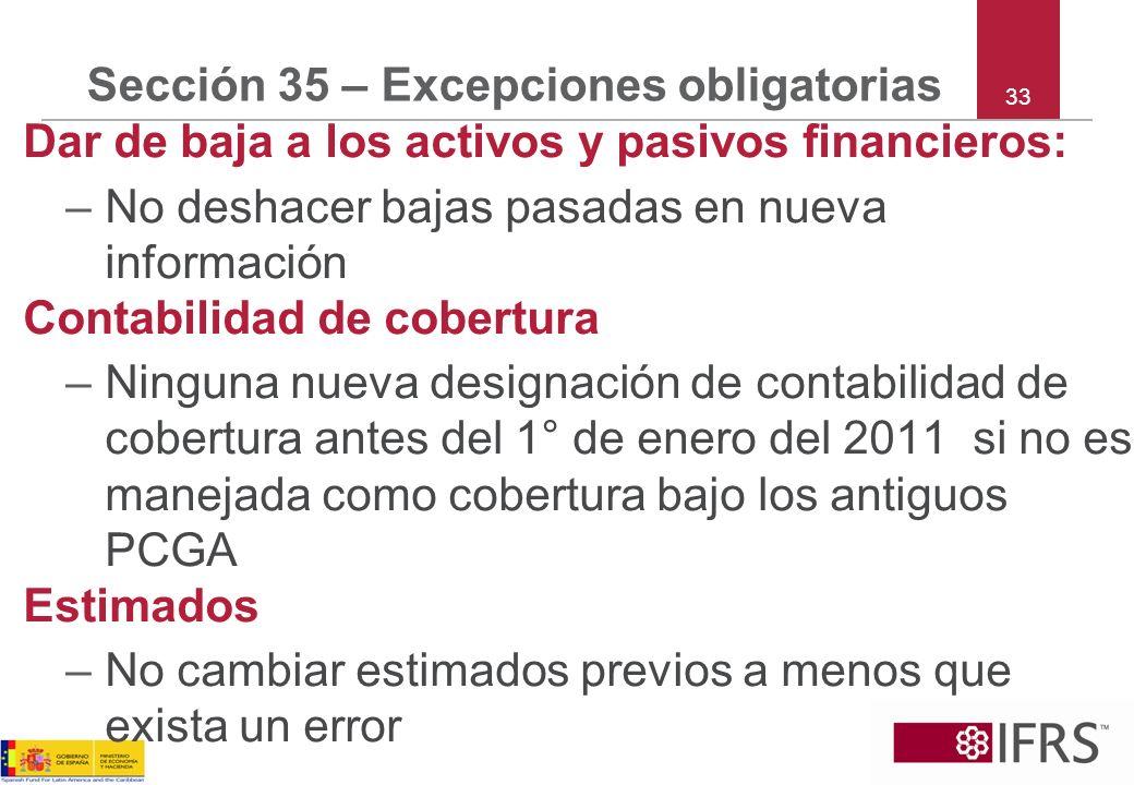 Sección 35 – Excepciones obligatorias